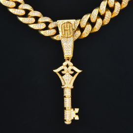 Iced Key Pendant in Gold
