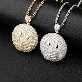 Face with Hand over Mouth Emoji Pendant