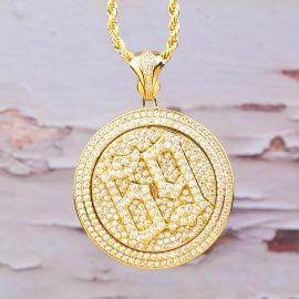 Iced 69 Spinning Pendant in Gold