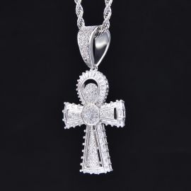 Iced Egyptian Ankh Cross Pendant in White Gold