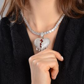 Women's Drip Broken Heart Necklace - Only Pendant