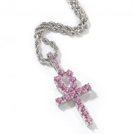 Pink Ankh Pendant in White Gold