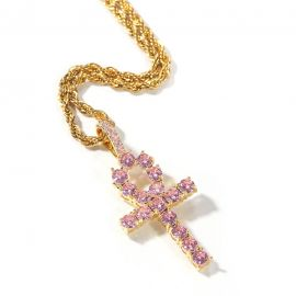 Pink Ankh Pendant in Gold