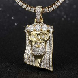 King Mustache and Hair Iced Jesus Pendant