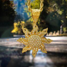Iced Gold Sun Pendant