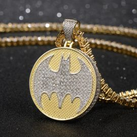 Iced Bruce Wayne Pendant in Gold