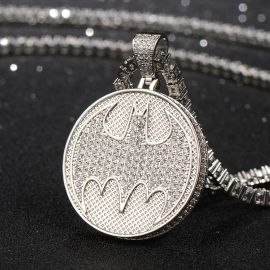 Iced Bruce Wayne Pendant in White Gold