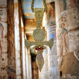 Gold Eye of Horus Ankh Cross Pendant