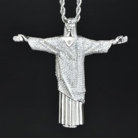 "Jesus ""Christ the Redeemer"" Cross Pendant in White Gold"