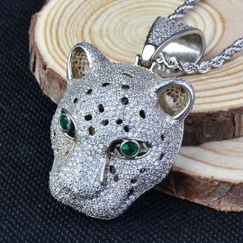 Iced Leopard Pendant in White Gold