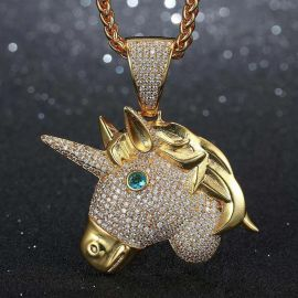 Iced Unicorn Pendant in Gold