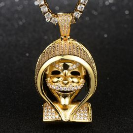 Iced False Face Pendant in Gold