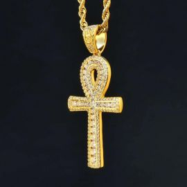 Double Iced Ankh Cross Pendant in Gold