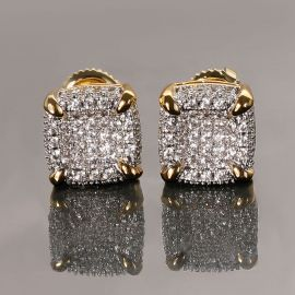 Rounded Square Stud Earrings-9*9mm