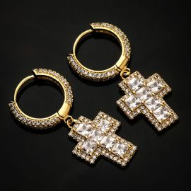Iced Princess Cut Cross Dangle Earring in Gold
