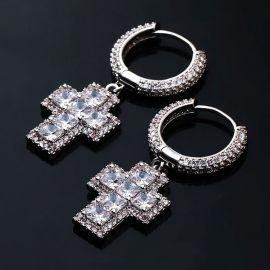 Iced Princess Cut Cross Dangle Earring in 18K White Gold