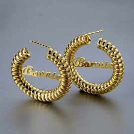"Personalized 1.4"" Twisted Curled Name Hoop Earrings"
