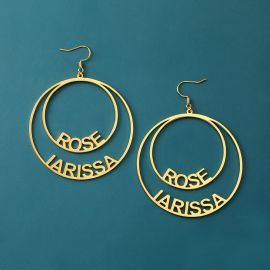 Personalized Circle Name Hoop Earrings