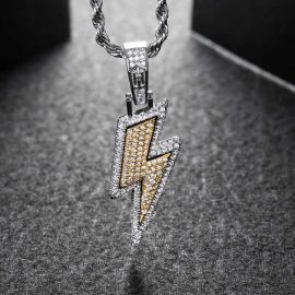 Iced Lightning Bolt Pendant in White Gold