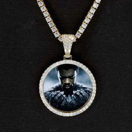 Iced Circle Black Panther Memory Pendant