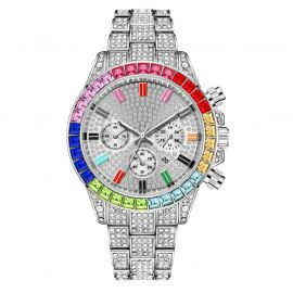 Iced Rainbow Dial Steel Watch in White Gold