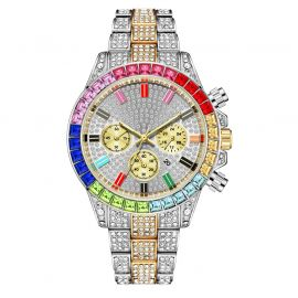Iced Two-Tone Rainbow Dial Steel Watch