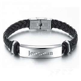 Men's Engraved Braid Leather Bracelet with Stainless Steel