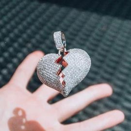 Iced Broken Heart Pendant in White Gold