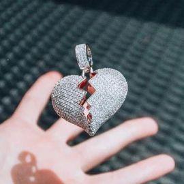 Iced Broken Heart Pendant in White Gold