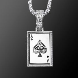 Ace of Spades Poker Card Pendant in White Gold