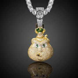 Iced Money Bag Pendant in Gold