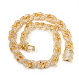 15mm Iced Infinity Chain with Box Clasp in Gold