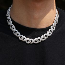 15mm Iced Infinity Chain with Box Clasp in White Gold