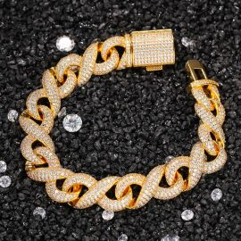 15mm Iced Infinity Bracelet with Box Clasp in Gold