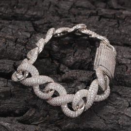 15mm Iced Infinity Bracelet with Box Clasp in White Gold