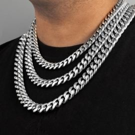 14mm 316L Stainless Steel Cuban Link Chain in White Gold
