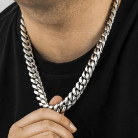 16mm 316L Stainless Steel Cuban Link Chain in White Gold