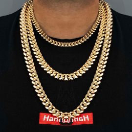 10mm Stainless Steel Cuban Chain in Gold