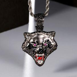 Roaring Wolf Head Pendant in Black Gold