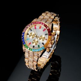 Iced Rainbow Dial Steel Watch in Gold