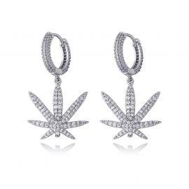 Iced Leaf Dangle Earrings