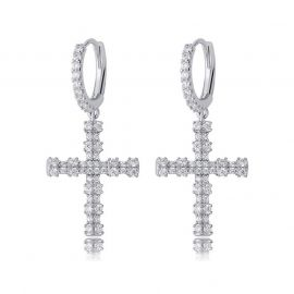 Iced Bamboo Cross Dangle Earrings
