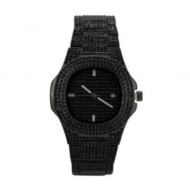 Pave Iced Rounded Square Fashion Men's Watch in Black Gold