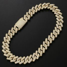 Iced 20mm Miami Cuban Chain with Big Box Clasp in Gold
