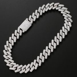 Iced 20mm Miami Cuban Chain with Big Box Clasp in White Gold