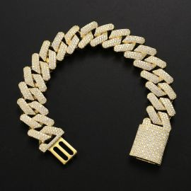 Iced 20mm Cuban Bracelet in Gold with Box Clasp