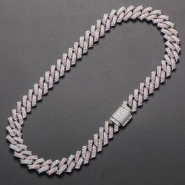 Pink and White Stones 14mm Cuban Prong Link Chain in White Gold