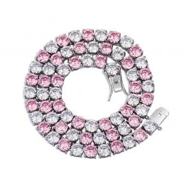 Pink and White Stones 5mm Tennis Chain in White Gold