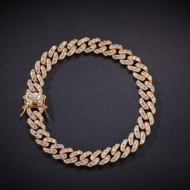 8mm Iced Cuban Link Anklet in Gold
