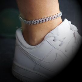 8mm Iced Cuban Link Anklet in White Gold